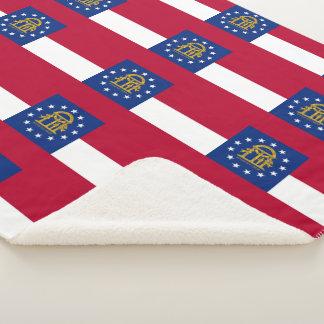Patriotic Sherpa Blanket with flag of Georgia
