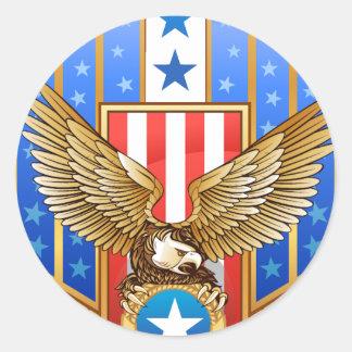 Patriotic Shield Round Sticker