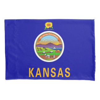 Patriotic Single Pillowcase flag of Kansas, USA