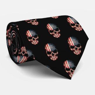 Patriotic skull tie