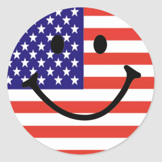 Patriotic Smiley Face Classic Round Sticker