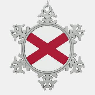 Patriotic Snowflake Ornament with Alabama Flag