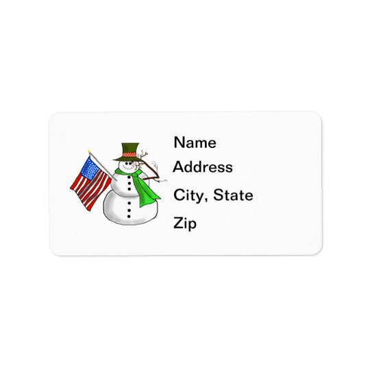 Patriotic Snowman Address Labels