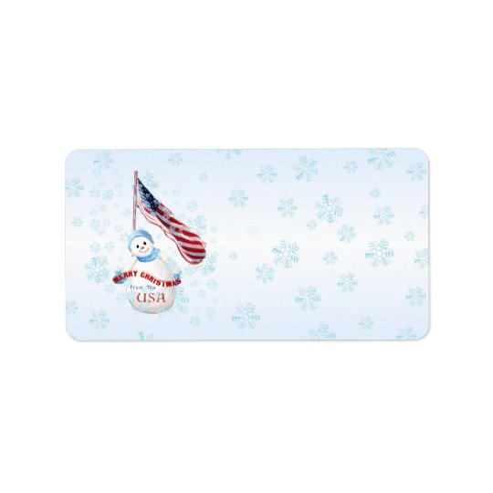 Patriotic Snowman Christmas Address Label