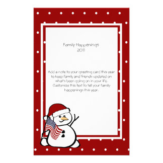 Patriotic Snowman Family Letter Stationery Paper