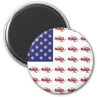 Patriotic Snowmobiling 2 Inch Round Magnet