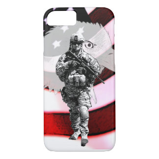 Patriotic Soldier with Eagle and U.S. Flag iPhone 7 Case