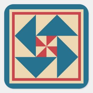 Patriotic Spin Quilt Block (Blue) Square Sticker
