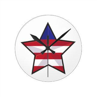 Patriotic Star Wall Clocks