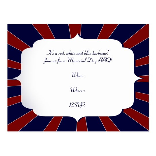 Patriotic Starburst in Red White and Blue Postcard