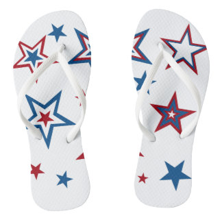 Patriotic Stars Adult, Slim Straps Flip Flops
