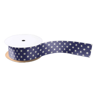 Patriotic Stars American Flag USA Blue White Satin Ribbon