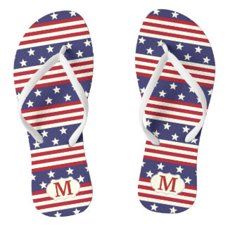 Patriotic Stars and Stripes American | Monogrammed Flip Flops
