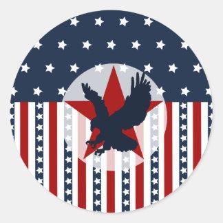 Patriotic Stars and Stripes Bald Eagle American Classic Round Sticker