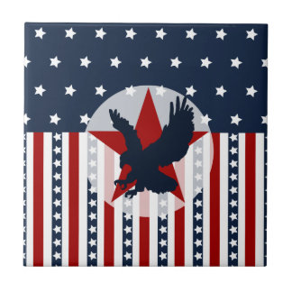 Patriotic Stars and Stripes Bald Eagle American Tiles