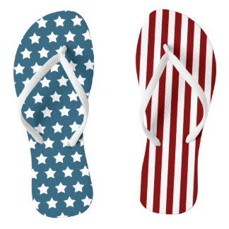 Patriotic Stars and Stripes Flip Flops
