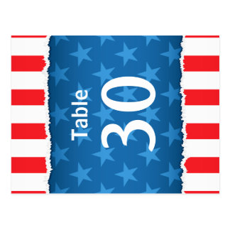 Patriotic stars and stripes table number cards postcard
