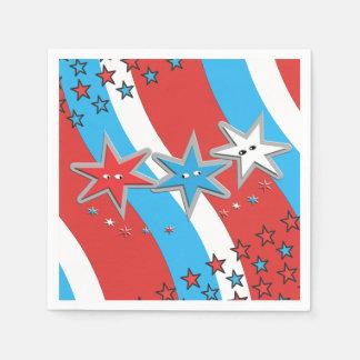 Patriotic Stars and Swirly Stripes Disposable Napkin