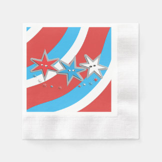 Patriotic Stars and Swirly Stripes Disposable Napkins