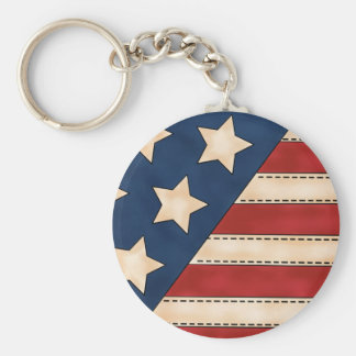 Patriotic stars fun stripes keychain