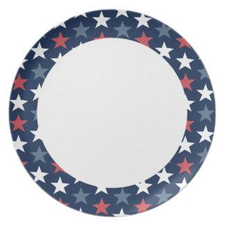 Patriotic Stars Red White & Blue Plate