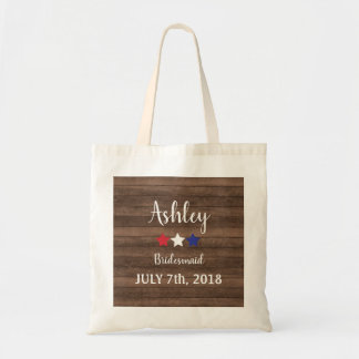 Patriotic Stars Rustic 4th of July Bridesmaid Gift Tote Bag