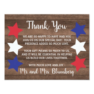 Patriotic Stars Rustic 4th of July Thank You Note Card