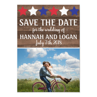 Patriotic Stars Rustic July 4th Save The Date Card