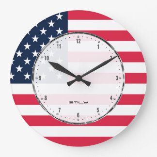 Patriotic Stars & Stripes Abstract American Flag 2 Large Clock