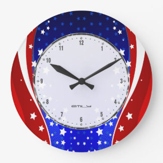 Patriotic Stars & Stripes Abstract American Flag 3 Large Clock