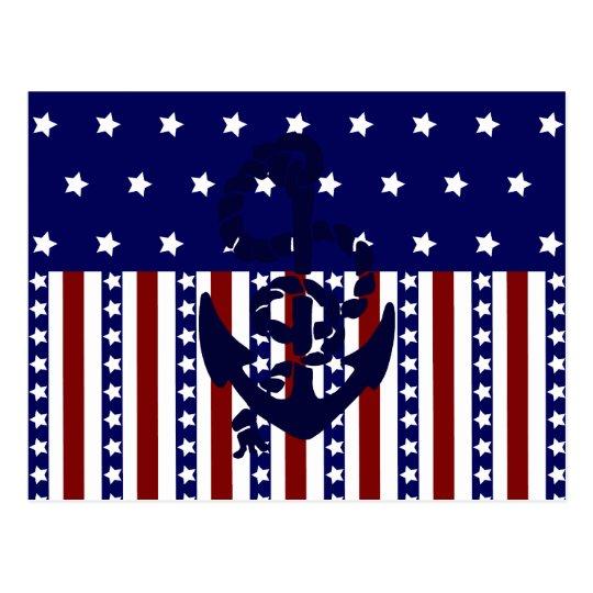 Patriotic Stars Stripes Anchor Sailor Pattern Postcard