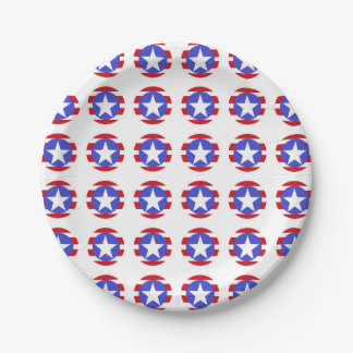 Patriotic Stars, Stripes and Circles 7 Inch Paper Plate