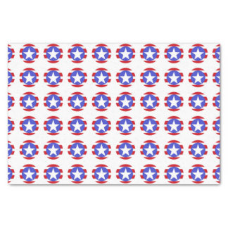 Patriotic Stars, Stripes and Circles Tissue Paper