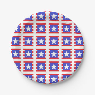 Patriotic Stars, Stripes and Squares 7 Inch Paper Plate
