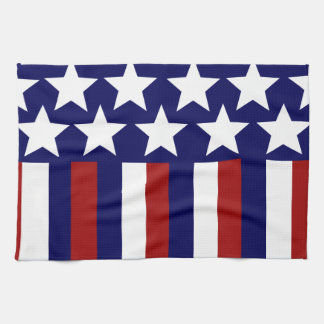 Patriotic Stars Stripes Freedom Flag 4th of July Kitchen Towel