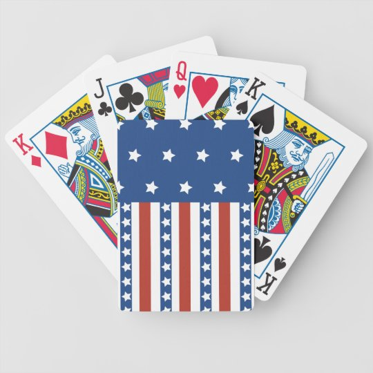 Patriotic Stars Stripes Freedom Flag 4th of July Poker Deck