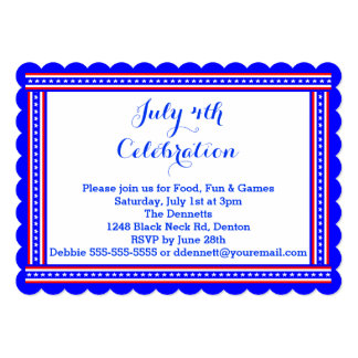 Patriotic Stars & Stripes July 4 Party Invitation