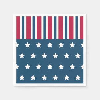 Patriotic Stars Stripes Napkins Disposable Napkins