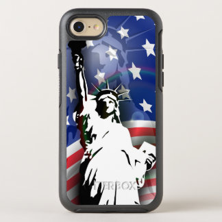 Patriotic Statue of Liberty and flag OtterBox Symmetry iPhone 8/7 Case