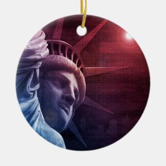 Patriotic Statue of Liberty Round Ceramic Ornament