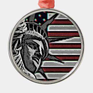 Patriotic Statue of Liberty Silver-Colored Round Ornament