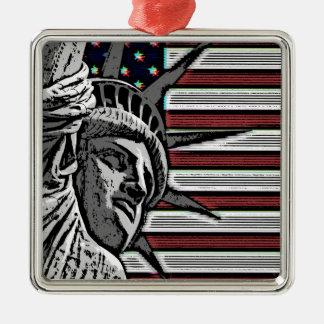 Patriotic Statue of Liberty Silver-Colored Square Ornament