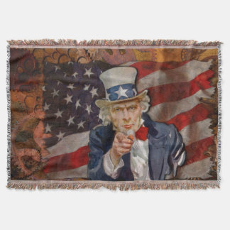 Patriotic Steampunk Sam & US Flag Throw Blanket