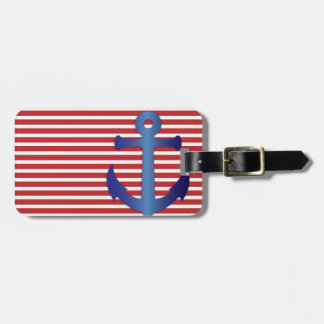 Patriotic Stripes and Anchor Custom Luggage Tag