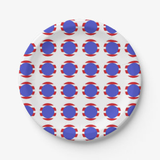 Patriotic Stripes and Polka Dots 7 Inch Paper Plate