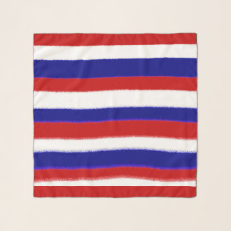 Patriotic Stripes Red White Blue Scarf