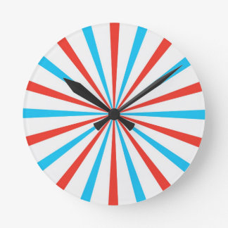 Patriotic Stripes Round Clock