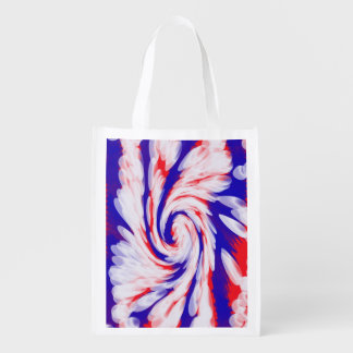 Patriotic Swirl Abstract Grocery Bag