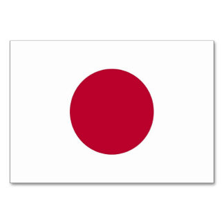 Patriotic table card with Flag of Japan