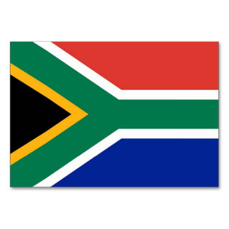 Patriotic table card with Flag of South Africa
